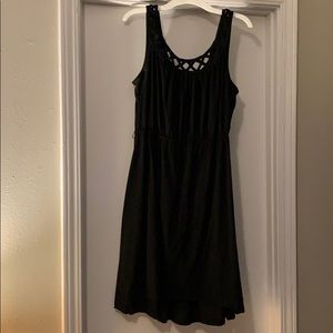 Black Cotton Mini Dress